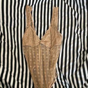 Tan lace bodysuit